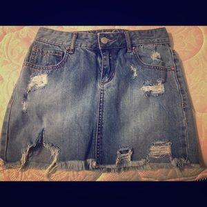 Distressed Denim Mini Skirt (Size 1)